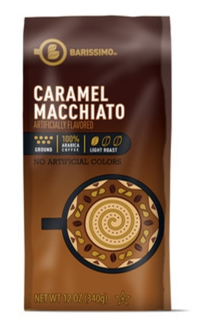 Barissimo CARAMEL MACCHIATO Flavored Ground Coffee 12oz (Light Roast)